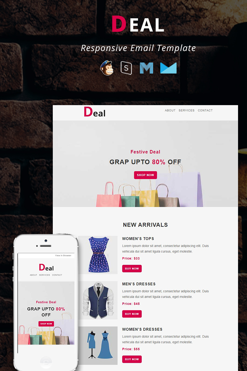 """""""Deal - Responsive Email"""" 响应式邮件模板 #88385"""