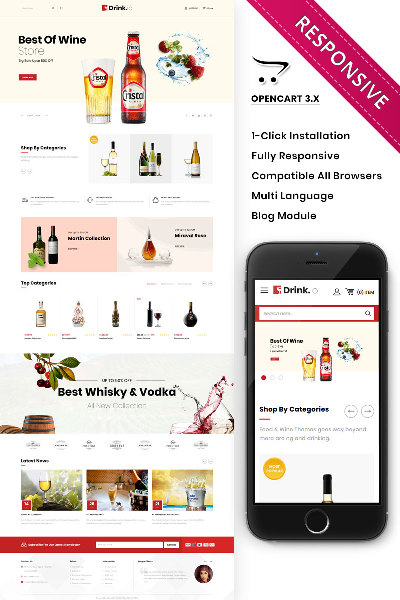 """Drinkio - The Wine Shop"" - адаптивний OpenCart шаблон №88384"