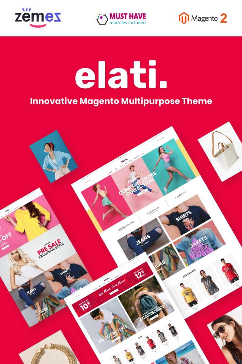 """Elati - Aheadworks One Step Checkout"" Responsive Magento Thema №88375"