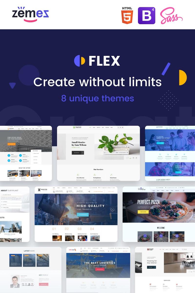 """Flex - Universal Multipurpose Creative HTML"" 响应式网页模板 #88389"