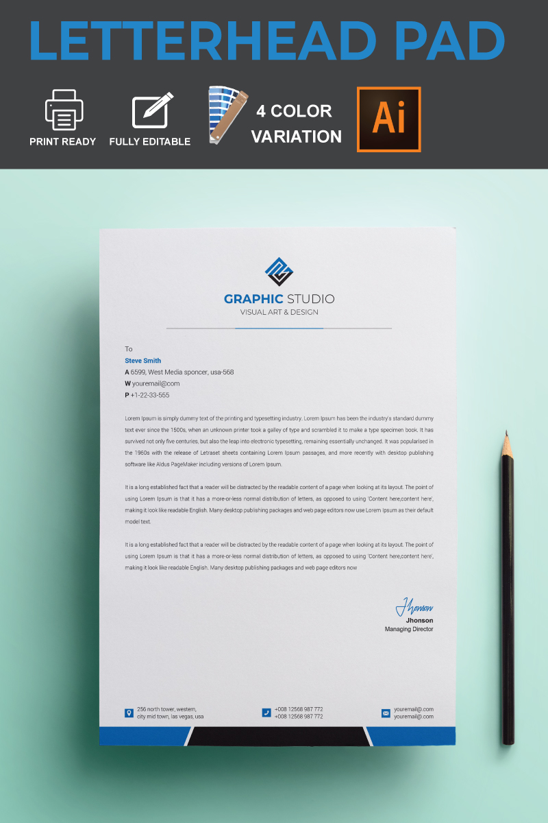 Letterhead Pad Corporate Identity Template - screenshot