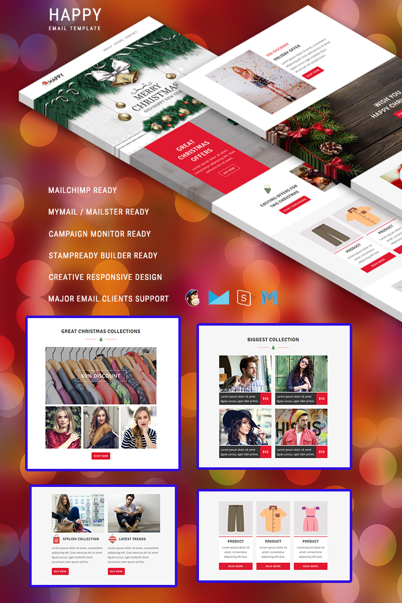 "Modello di Newsletter Responsive #88373 ""Happy"""