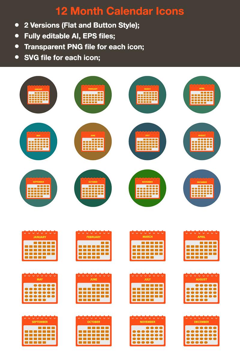 """Modello Pacchetto Icone #88343 """"Premium - 12 Months Calendar"""""""