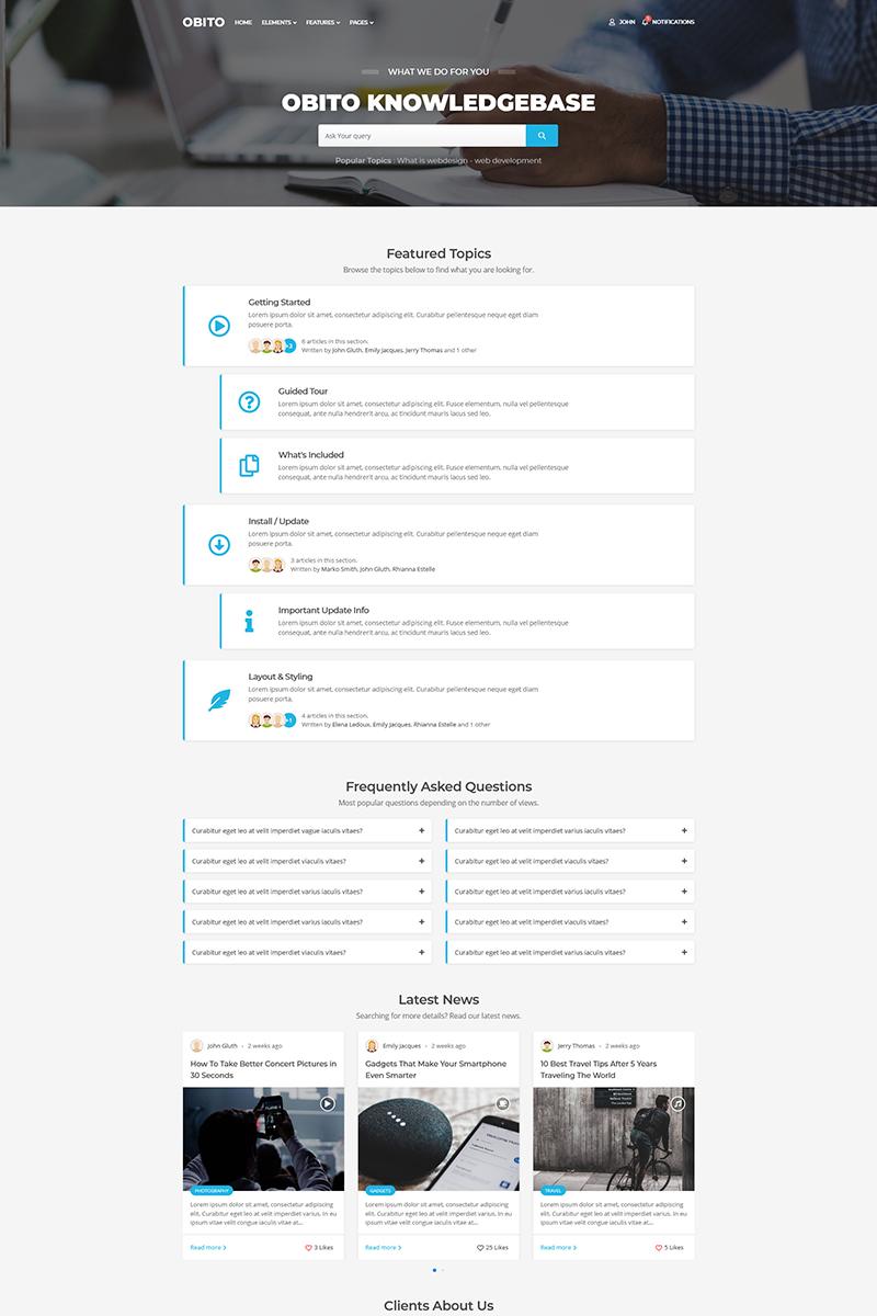 Obito - Knowledge Base Website Template - screenshot