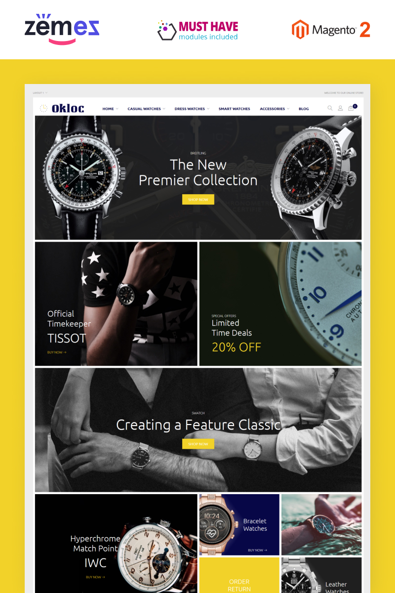 """Okloc - Watch Shop"" - адаптивний Magento шаблон №88387"