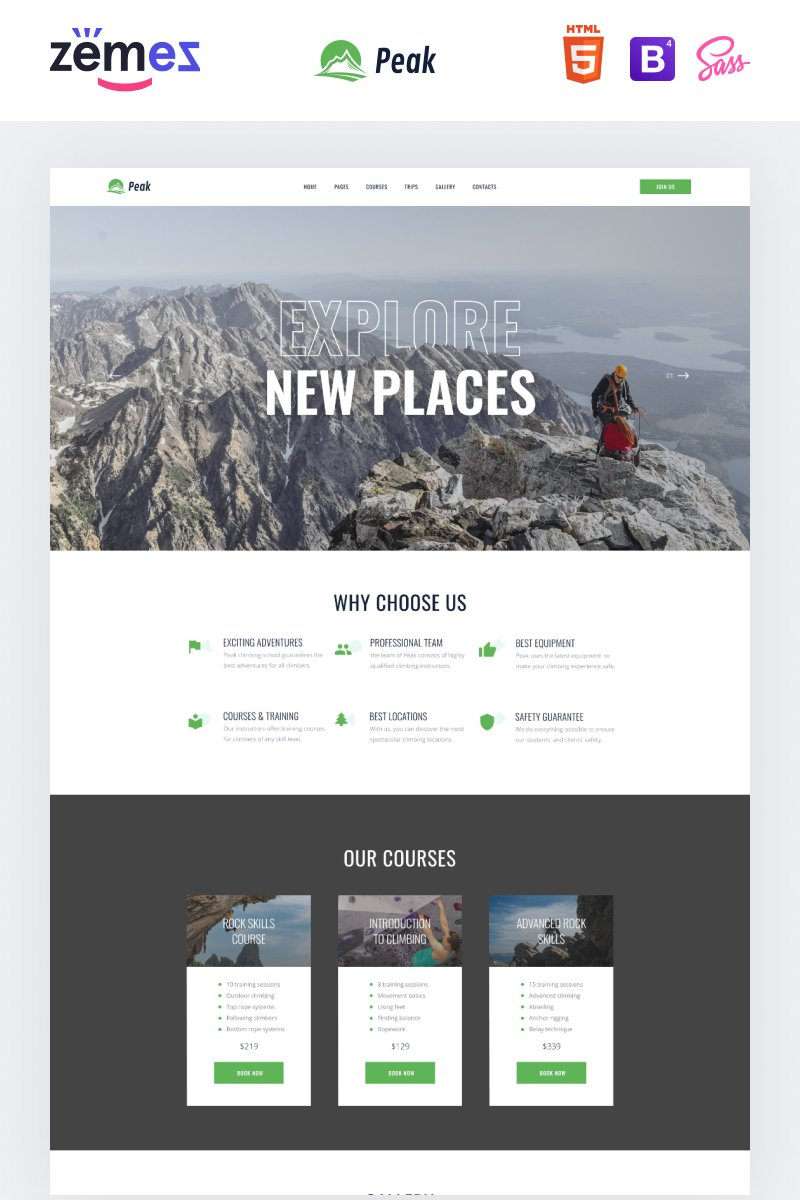 """Peak - Climbing Multipage Clean HTML"" Responsive Website template №88357"
