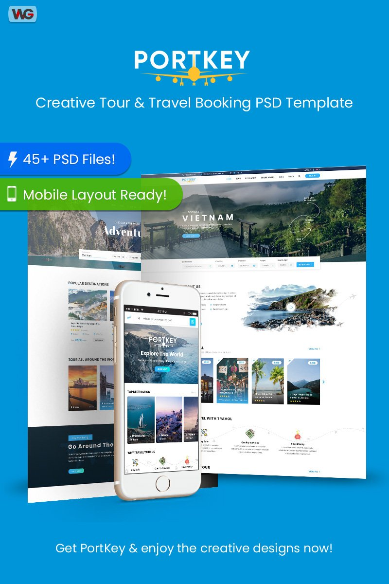 PortKey - Creative Tour & Travel Booking Psd #88346