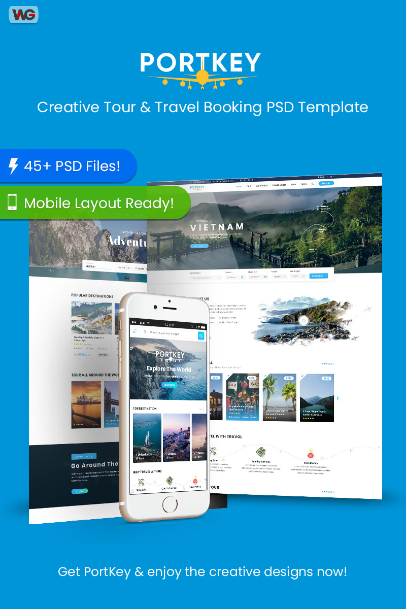 PortKey - Creative Tour & Travel Booking PSD Template