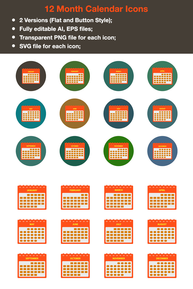 Premium - 12 Months Calendar Iconset Template - screenshot