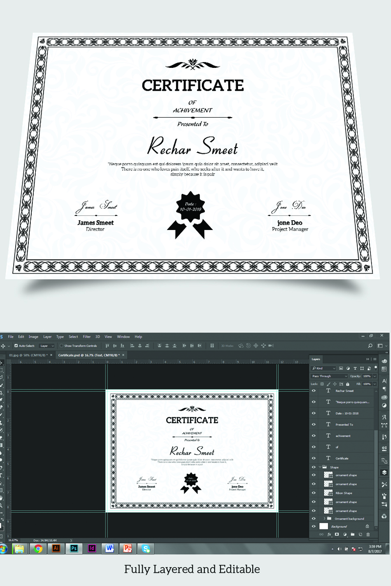 Rechar Achievement Certificate Template - screenshot