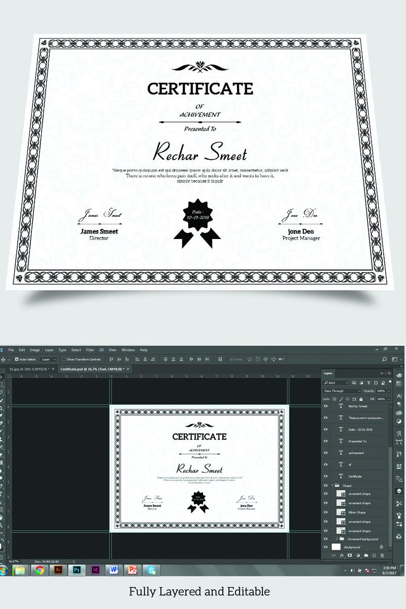 "Šablona certifikátu ""Rechar Achievement"" #88348"