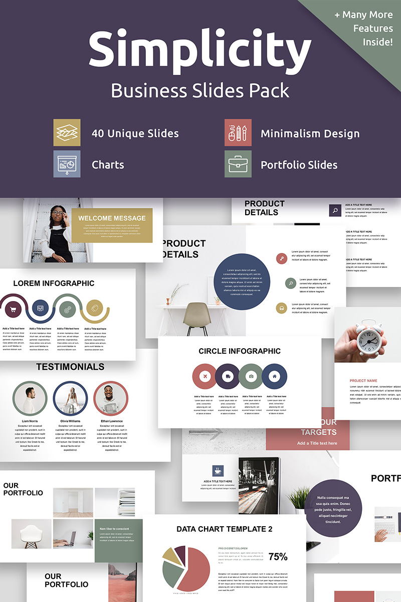 Simplicity Business Slides Pack Template PowerPoint №88370