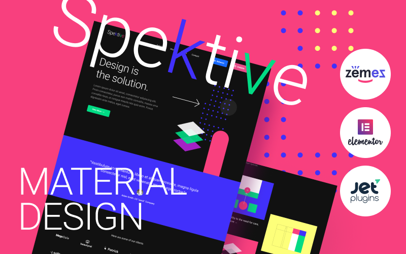 """Spektive - Legible And Neat Material Design"" Responsive WordPress thema №88388"
