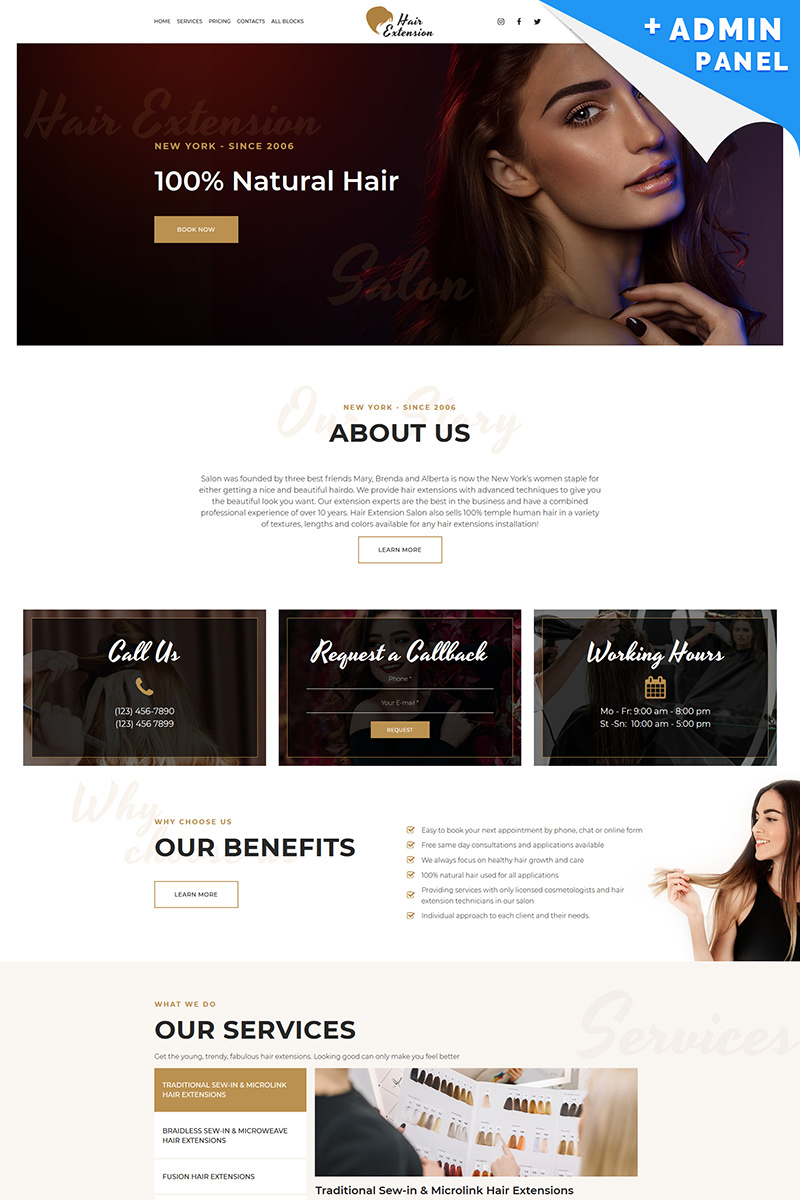 "Tema di Landing Page Responsive #88356 ""Hair Extension"""