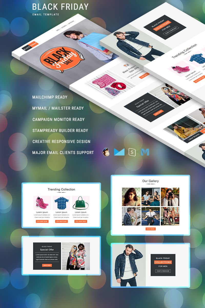 "Tema di Newsletter Responsive #88374 ""Black Friday – Multipurpose Responsive"""
