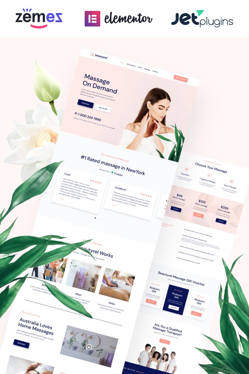 "Tema WordPress Responsive #88383 ""Beautyrel - Relaxing Massage Therapy"""