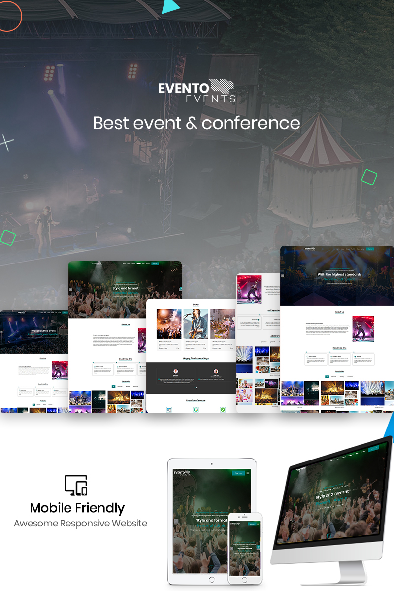 "Template di Landing Page Responsive #88354 ""Evento - The Event"""