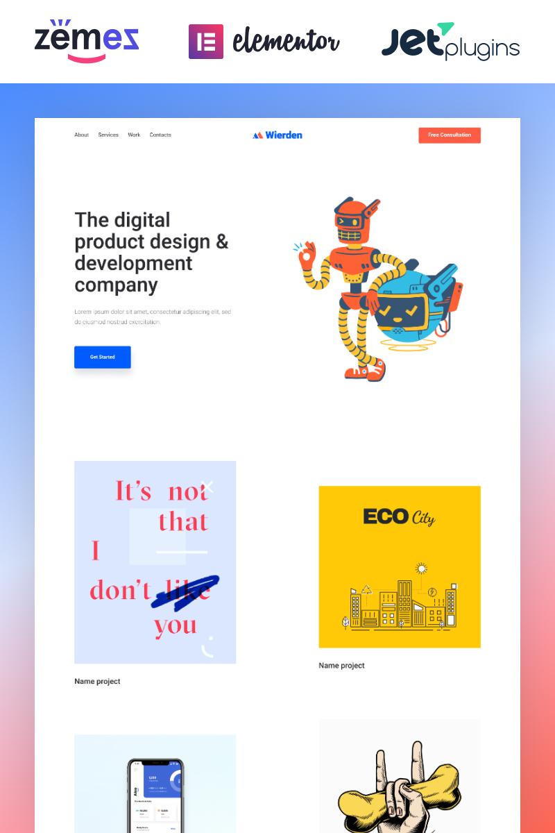 """Wierden - Minimalistic And Modern Digital Product"" - адаптивний WordPress шаблон №88333 - скріншот"