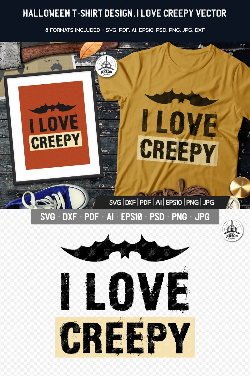 """I Love Creepy Halloween"" - T-shirt №88468 - скріншот"