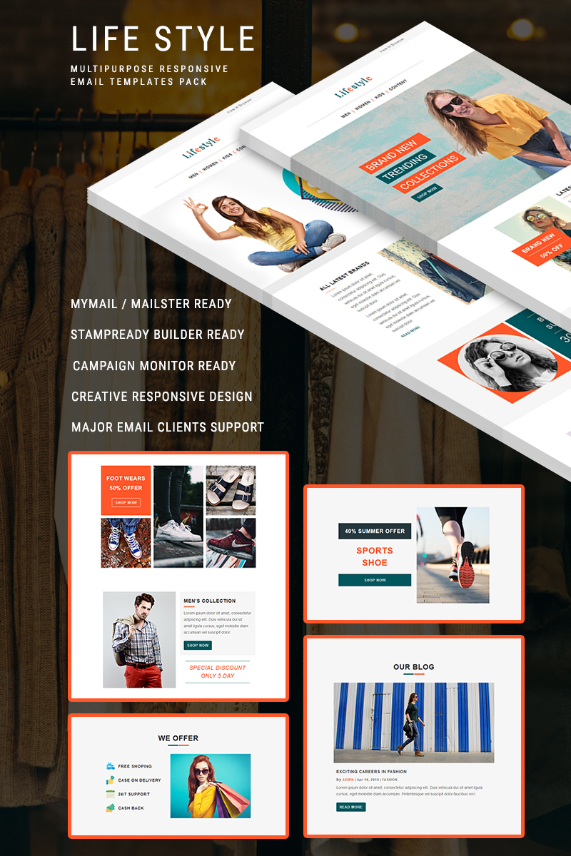 """""""Life Style - Responsive Email"""" Responsive Nieuwsbrief Template №88453"""