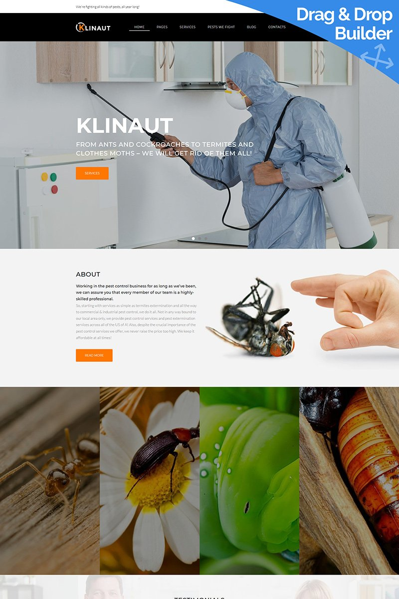 """Plantilla Moto CMS 3 """"Klinaut - Pest Control"""" #88469"""
