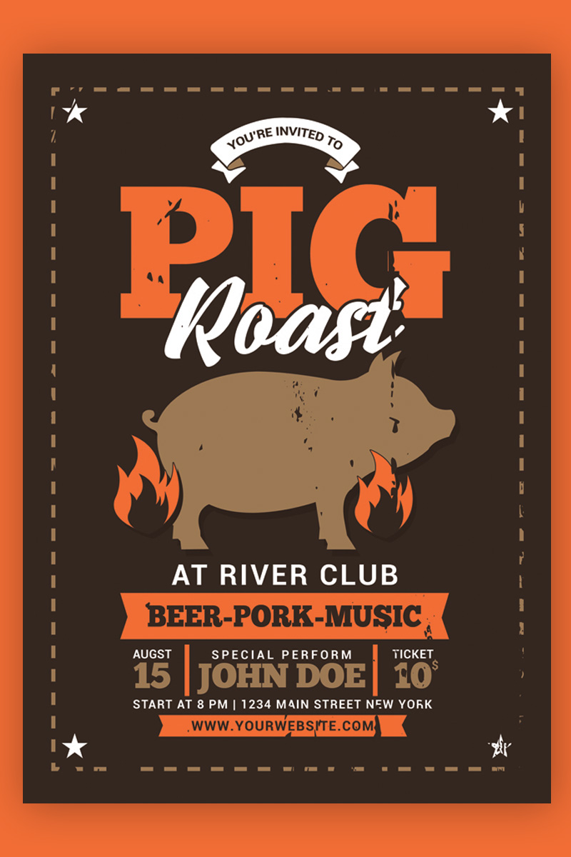 Szablon tożsamości korporacyjnej Pig Roast Event #88490