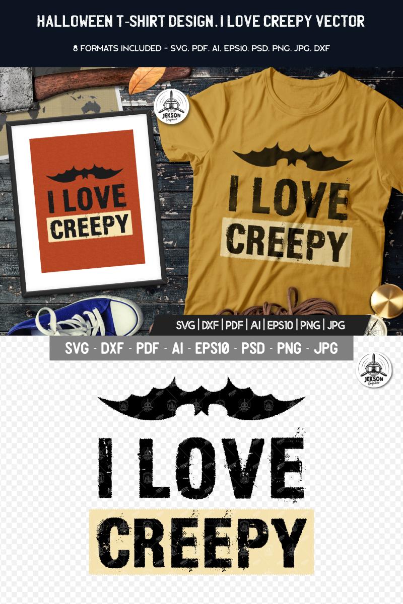 "T-shirt namens ""I Love Creepy Halloween"" #88468"