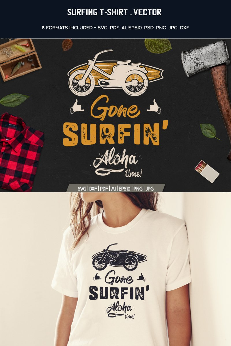 "Tema T-shirt #88464 ""Gone Surfing - Aloha Time"""