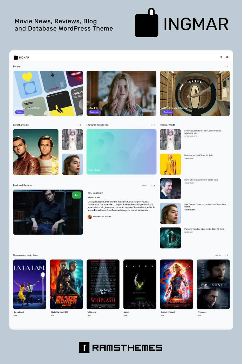 "Tema WordPress Responsive #88452 ""INGMAR - Movie News, Reviews, Blog and Database"""