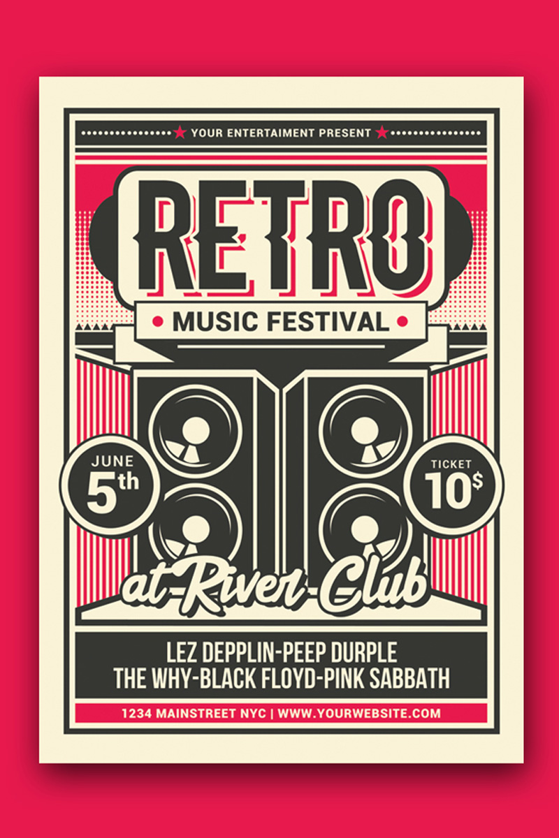 """Unternehmensidentität Vorlage namens """"Retro Music Festival"""" #88475"""