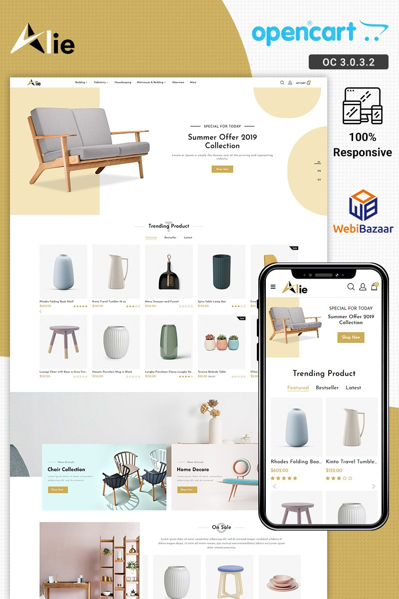 """Alie Best Furniture"" OpenCart模板 #88575 - 截图"