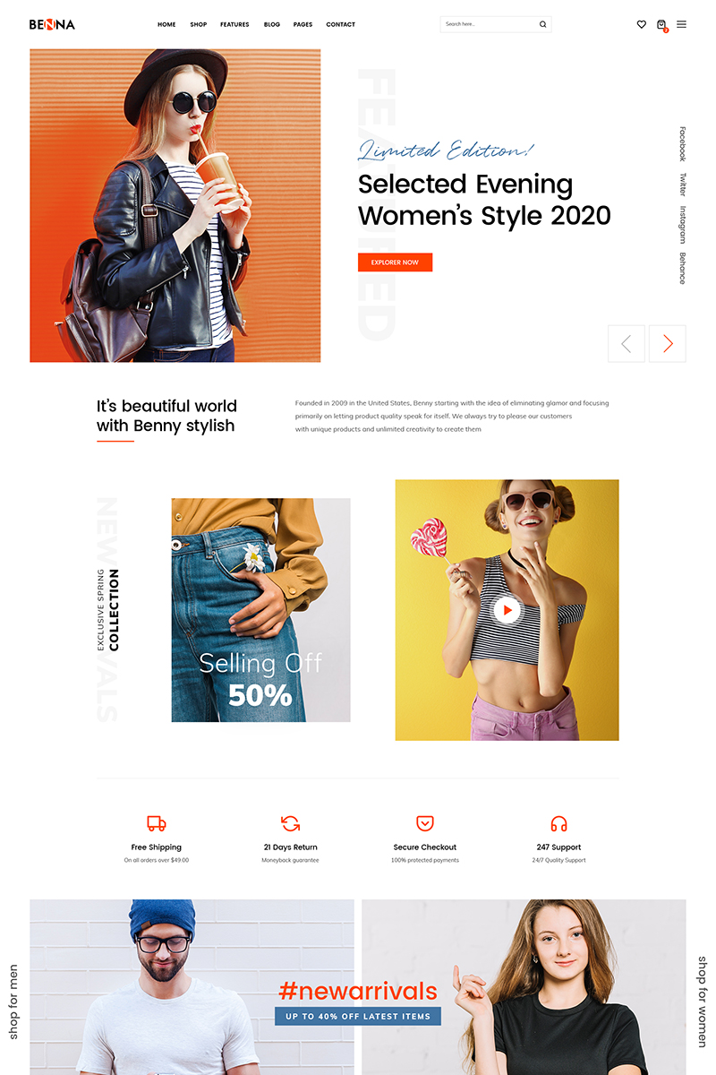 Benna - fashion template Tema WooCommerce №88574 - captura de tela