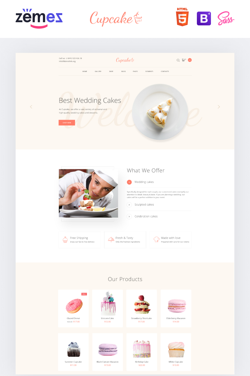 """""""Cupcake - Cake Shop Clean"""" modèle web adaptatif #88573"""