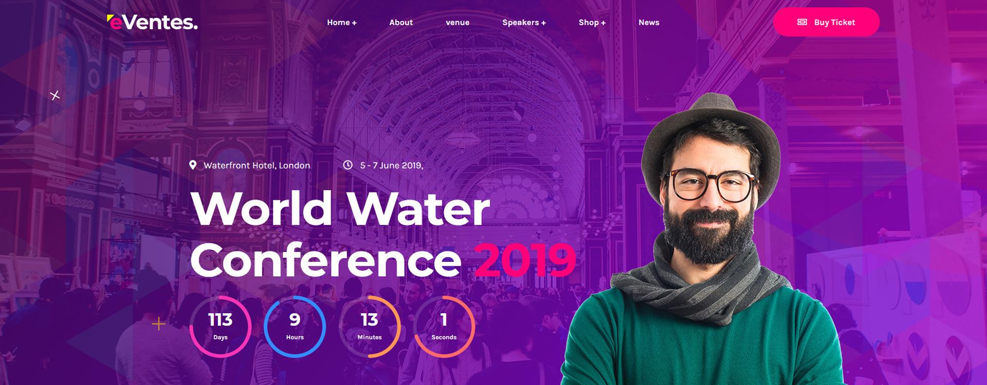 """Eventes - Conference and Event"" - адаптивний WordPress шаблон №88510"