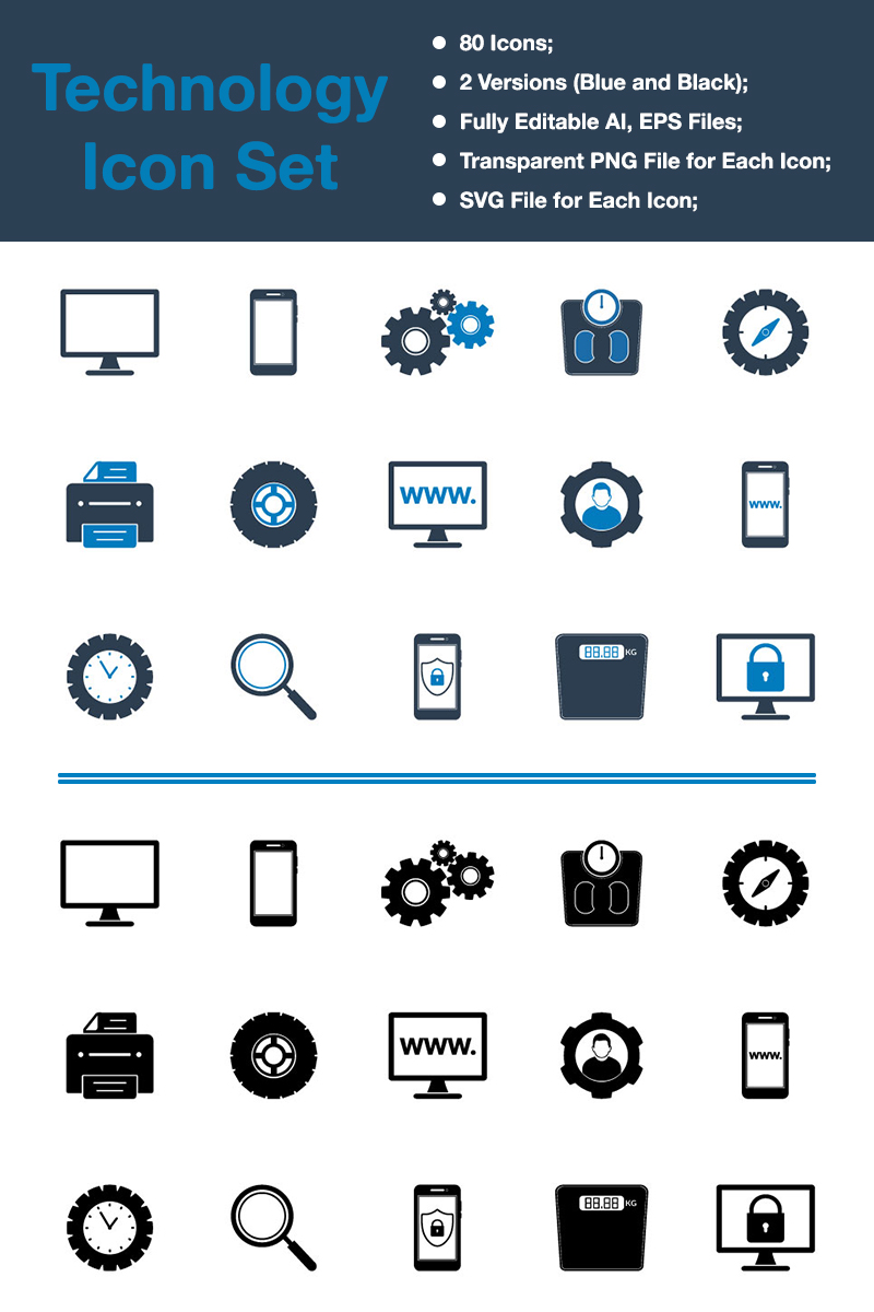 "Icon-Sammlungen Vorlage namens ""Technology - Premium Vector"" #88537 - Screenshot"