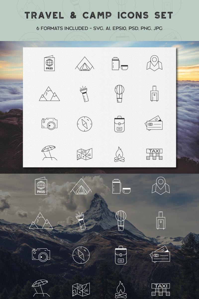 """Icon-Sammlungen Vorlage namens """"Travel Camping Bundle"""" #88536"""