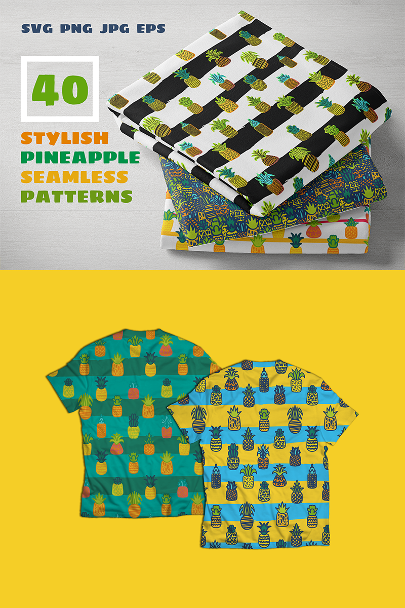 "Illustration namens ""Pineapples Patterns Set"" #88562 - Screenshot"