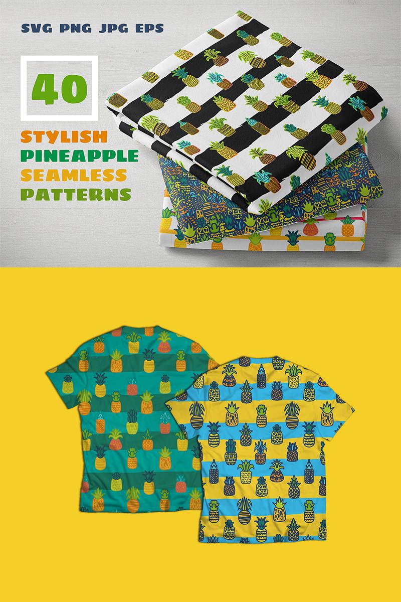 "Ilustrace ""Pineapples Patterns Set"" #88562 - screenshot"