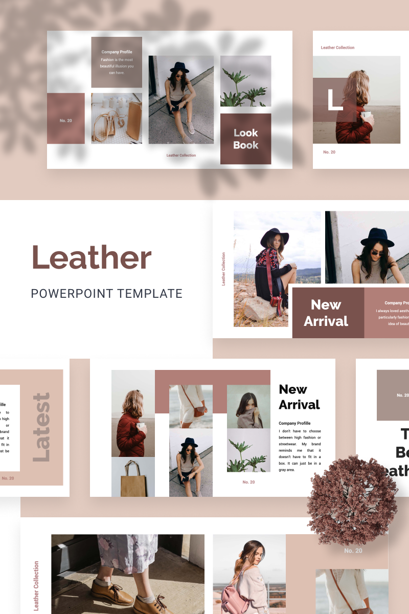 """LEATHER"" modèle PowerPoint  #88556"