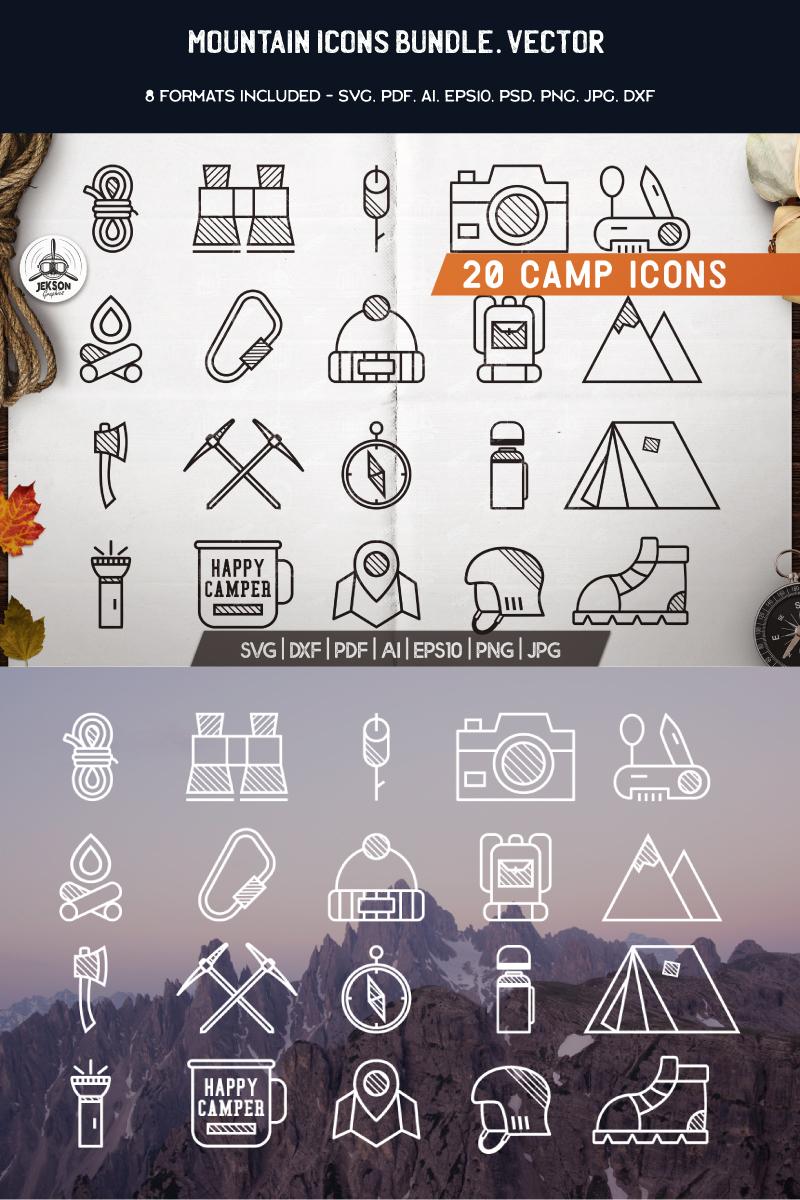 20 Mountains Line Art Icons Illustration