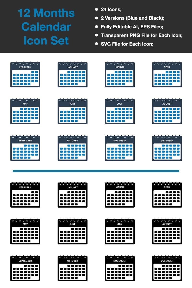 Premium 12 Months Calendar Iconset-mall #88533