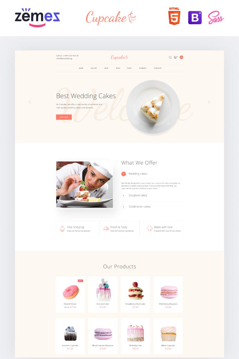 Reszponzív Cupcake - Cake Shop Clean Weboldal sablon 88573