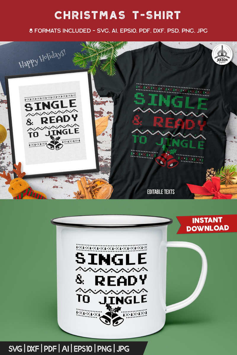 "T-shirt ""Single & Ready For Jingle"" #88596"