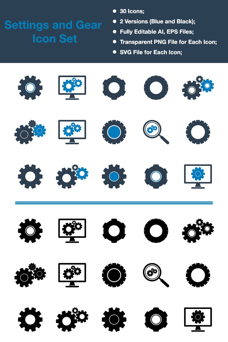 Zestaw Ikon Settings & Gear - Premium Vector #88539