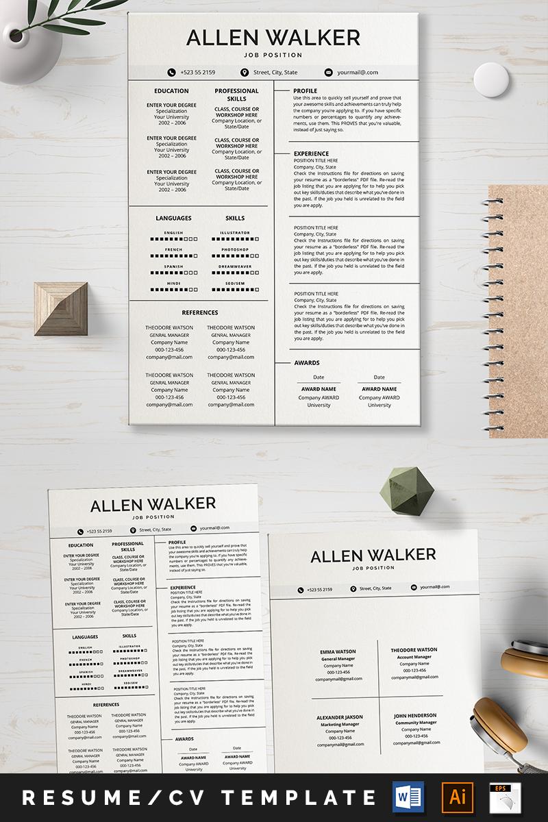 """Aleen Walker CV"" - Шаблон резюме №88698"