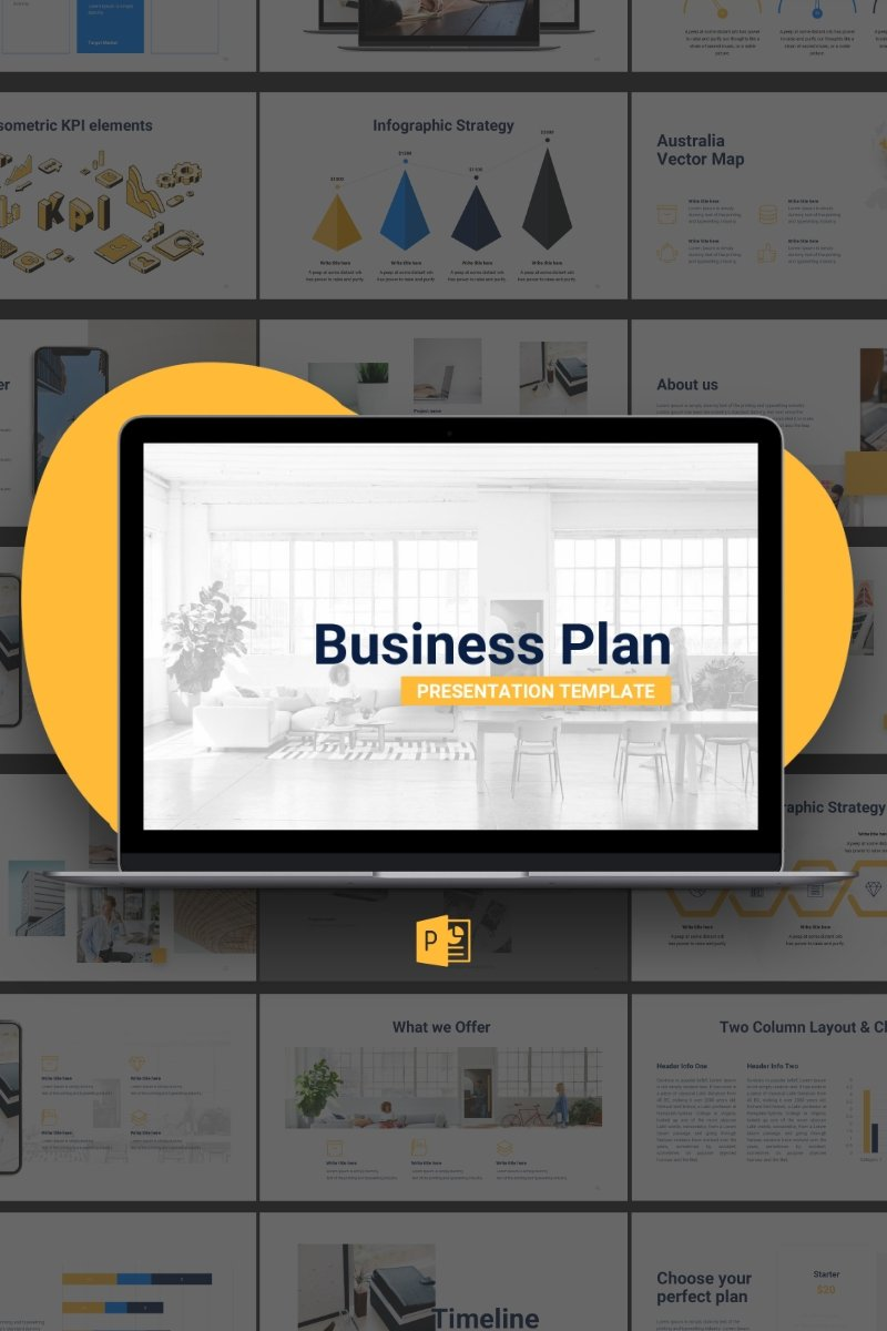 """Business Plan"" PowerPoint Template №88609"