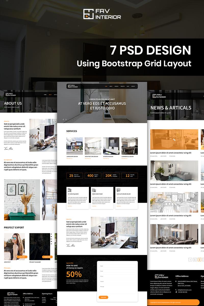 Fav Interior - Interior Design Company Template Photoshop №88641 - captura de tela