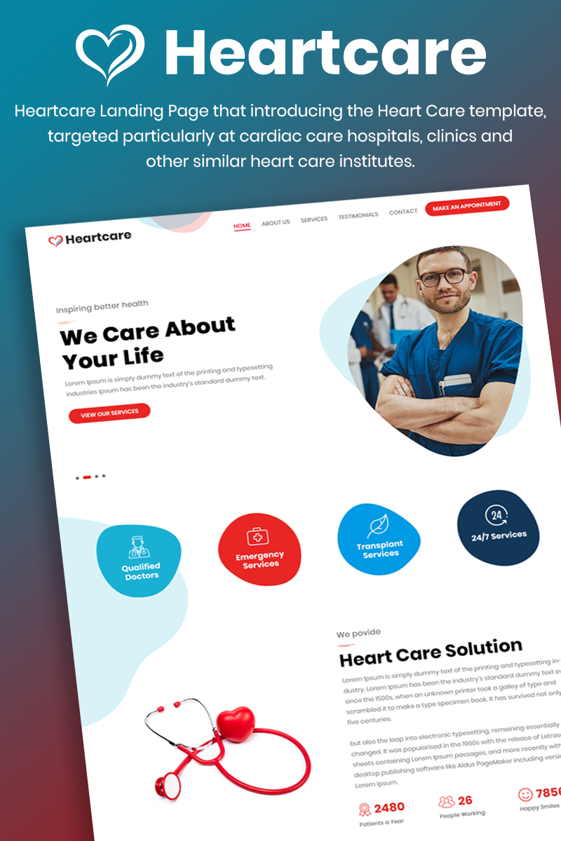 Heartcare Medical Solution Template Photoshop №88640