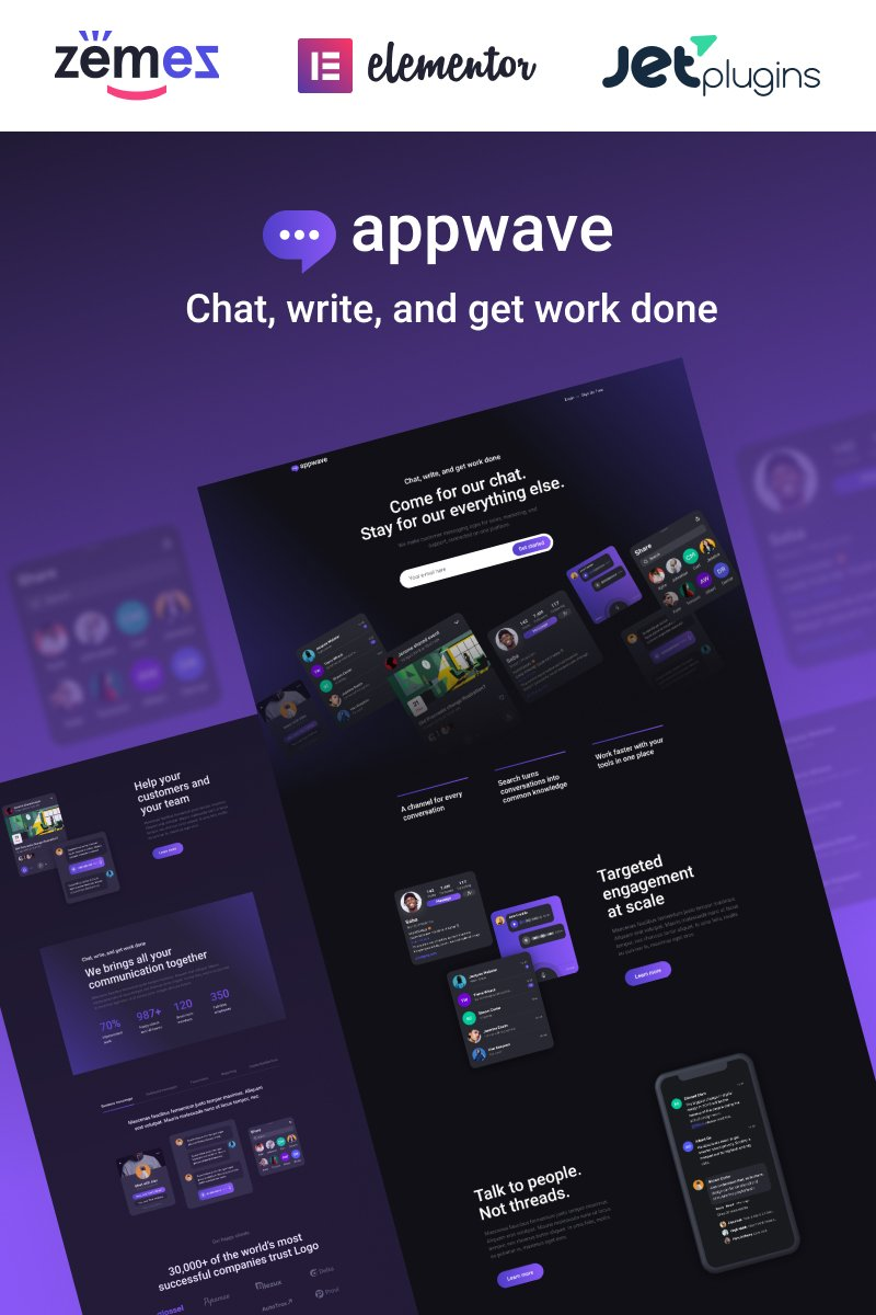 Responsive Appwave - Innovative and Stylish App Landing Page Wordpress #88618