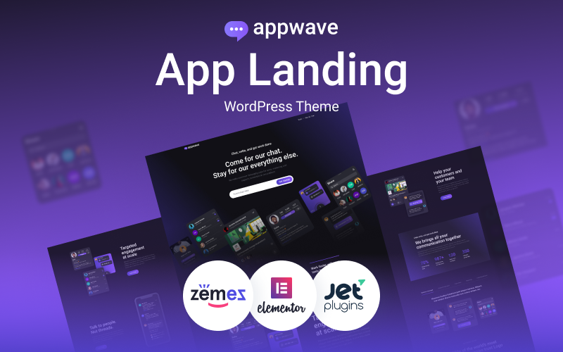 Responsivt Appwave - Innovative and Stylish App Landing Page WordPress-tema #88618